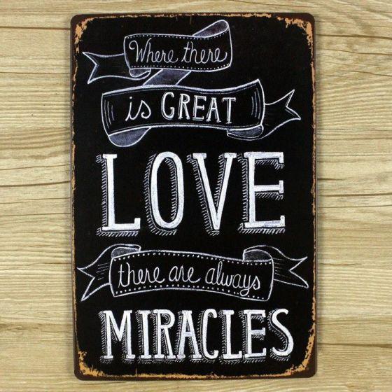 Emaljeskilt Great Love = Miracles - NiceWall.dk