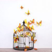 3D Sommerfugle wallstickers med magnet - gul
