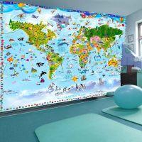 World Map for Kids fotostat - flot foto tapet til væggen