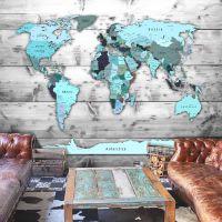 World Map: Blue Continents fotostat - flot foto tapet til væggen