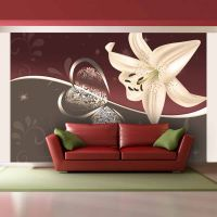Cream lily fotostat - flot foto tapet til væggen