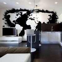 Hvide kontinenter, sorte oceaner ... fotostat - flot foto tapet til væggen