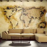 Guldgravere 'kort over verden fotostat - flot foto tapet til væggen