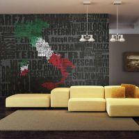 Text map of Italy fotostat - flot foto tapet til væggen