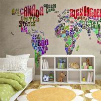 Verdenskort med landenavne i farver fotostat - flot foto tapet til væggen