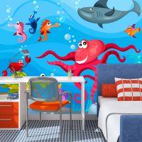 Octopus and shark fotostat - flot foto tapet til væggen