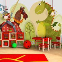 Dragon and knight fotostat - flot foto tapet til væggen