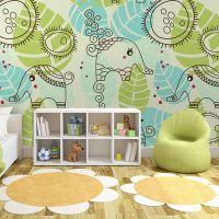 Elefanter med mønster fotostat - flot foto tapet til væggen
