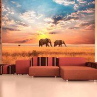 Elefanter på den afrikanske savanne fotostat - flot foto tapet til væggen