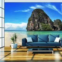 Eksotisk landskab i Thailand, Railay beach fotostat - flot foto tapet til væggen