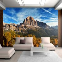 Panoramaudsigt italienske Dolomitter fotostat - flot foto tapet til væggen