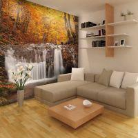 Autumn landscape : waterfall in forest fotostat - flot foto tapet til væggen
