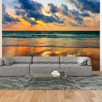Farverig solnedgang over havet fotostat - flot foto tapet til væggen