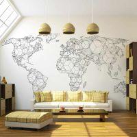 Map of the World - white solids fotostat - flot foto tapet til væggen