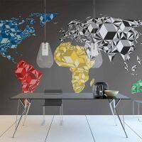 Map of the World - colorful solids fotostat - flot foto tapet til væggen