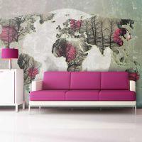 Map of the World - Howling to the moon fotostat - flot foto tapet til væggen