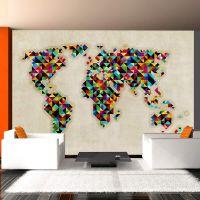 World Map - a kaleidoscope of colors fotostat - flot foto tapet til væggen