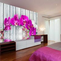 Violet orchids with water reflexion fotostat - flot foto tapet til væggen