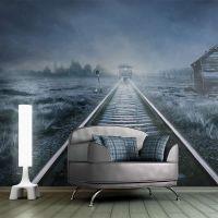 Spøgelsestog i nattens mørke fotostat - flot foto tapet til væggen