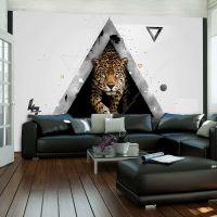 Leopard med abstrakte former på hvid baggrund fotostat - flot foto tapet til væggen