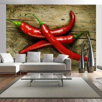Spicy chili peppers fotostat - flot foto tapet til væggen