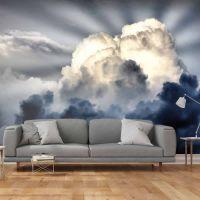 Solens stråler skinner igennem skyen fotostat - flot foto tapet til væggen