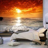 Vidunderlig solnedgang på stranden fotostat - flot foto tapet til væggen
