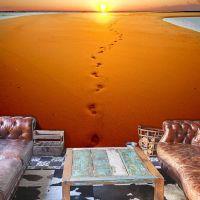 Fodspor i sandet fotostat - flot foto tapet til væggen