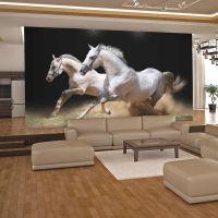 Galoperende heste på sandet fotostat - flot foto tapet til væggen