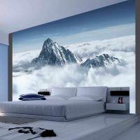 Bjerget i skyerne fotostat - flot foto tapet til væggen