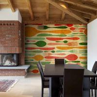 Bestik - orange og grøn fotostat - flot foto tapet til væggen