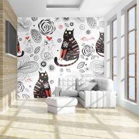 Forelskede katte fotostat - flot foto tapet til væggen