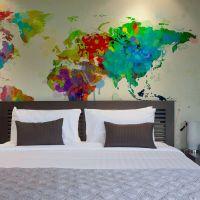Paint splashes map of the World fotostat - flot foto tapet til væggen