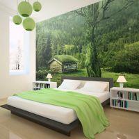 Lille hytte i skovens dybe, stille ro fotostat - flot foto tapet til væggen