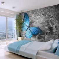 Blue butterfly fotostat - flot foto tapet til væggen