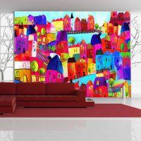 Regnbuefarvet by fotostat - flot foto tapet til væggen