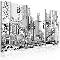 Black & white comic style canvas print - flot billede på lærred