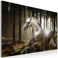 A white horse in the midst of the trees canvas print - flot billede på lærred