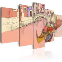 Romantic gondolas - 5 dele canvas print - flot billede på lærred