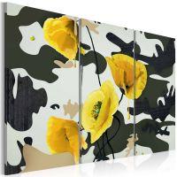 Gule valmuer på abstrakt baggrund - 3-delt canvas print - flot billede på lærred