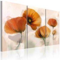 Kunstneriske valmuer - 3-delt canvas print - flot billede på lærred