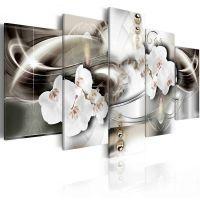 Orchids among the waves of gold canvas print - flot billede på lærred