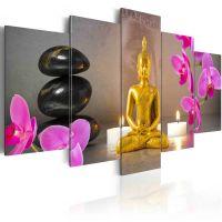 Golden Buddha and orchids canvas print - flot billede på lærred