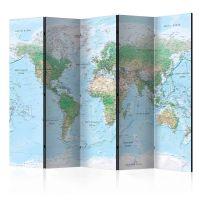 World Map skærmvæg. Dekorativ flytbar skillevæg / rumdeler til hjem eller kontor.