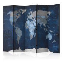 Dark Blue World skærmvæg. Dekorativ flytbar skillevæg / rumdeler til hjem eller kontor.