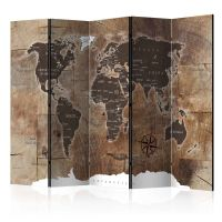 Room divider – Map on the wood-1