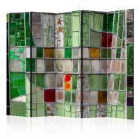 Emerald Stained Glass II skærmvæg. Dekorativ flytbar skillevæg / rumdeler til hjem eller kontor.