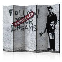 Dreams Cancelled (Banksy) II skærmvæg. Dekorativ flytbar skillevæg / rumdeler til hjem eller kontor.
