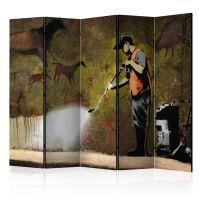 Banksy - Cave Painting II skærmvæg. Dekorativ flytbar skillevæg / rumdeler til hjem eller kontor.