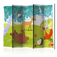 Funny animals II skærmvæg. Dekorativ flytbar skillevæg / rumdeler til hjem eller kontor.